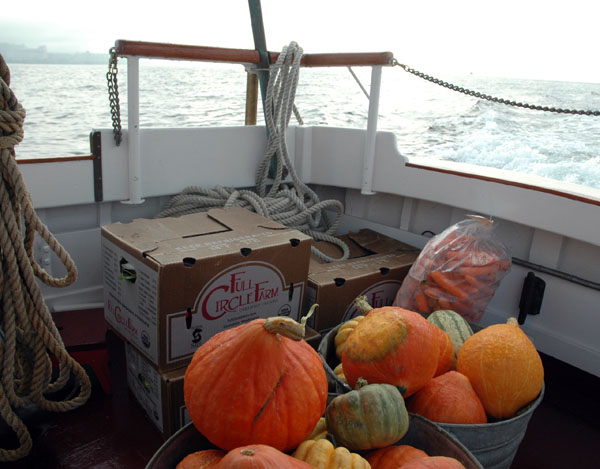 Fresh produce at sea on its way to the floating market at Lake Union Park
