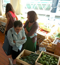 Shopping at the FarmBoat Floating Market aboard the Virginia V