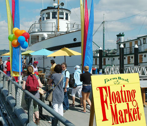 FarmBoat Floating Market on the Virginia V at Lake Union Park in Seattle